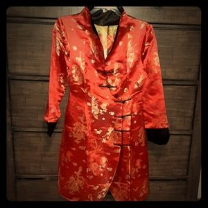 VTG/New Asian Red silk Cheongsam Cocktail dress